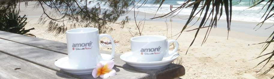 Amore Coffee cups with byron beach and frangapani